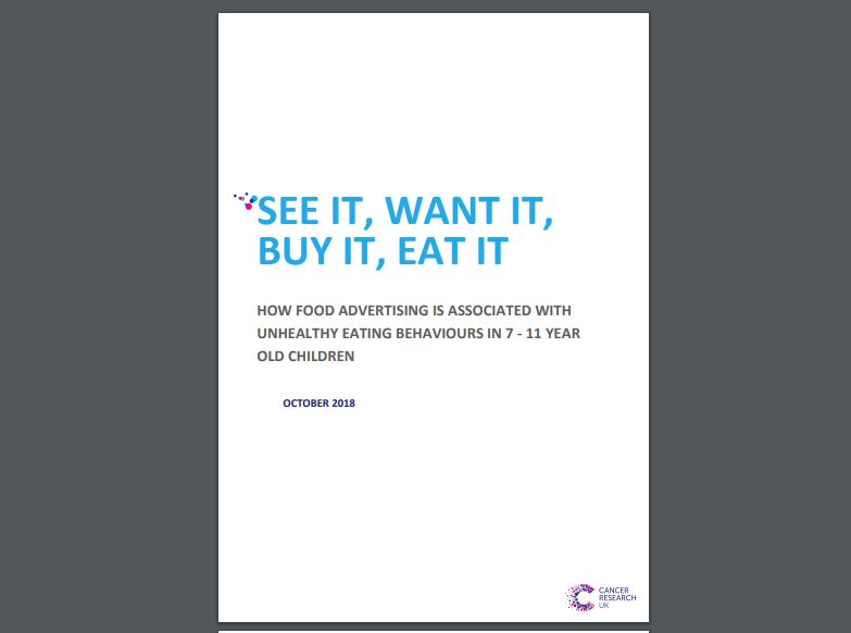Cancer Research Report, See it, want it, buy it, eat it