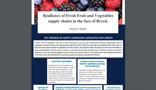 Policy Brief - Resilience of Fresh Fruit and Vegetables supply chains in the face of Brexit.